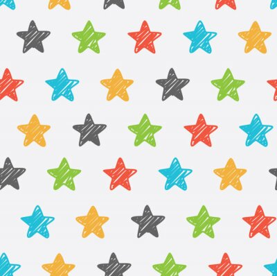 Naklejka Sketchy star seamless background