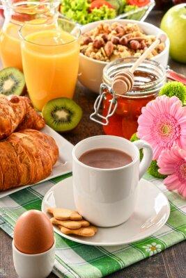 Naklejka Skład z śniadanie na stole. Balnced diety.