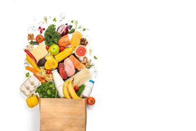 Naklejka Sklepu spożywczego zakupy pojęcie - mięso, ryba, owoc i warzywo z torba na zakupy, odgórny widok