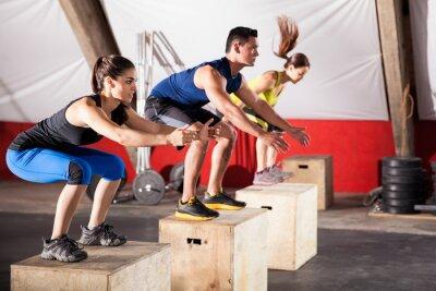 Naklejka Skoki ćwiczenia na siłowni