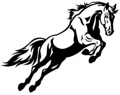 Naklejka skoki koń czarny biały