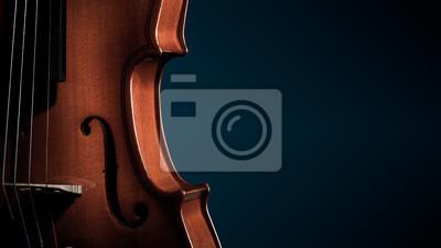 Naklejka Skrzypce instrumenty muzyczne zbliżenie orkiestry na czarno