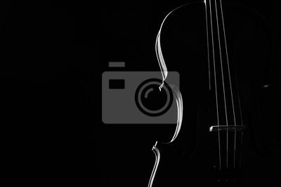 Naklejka Skrzypce klasycznego instrumentu muzycznego Close-up. Strunowe instrumenty muzyczne skrzypce samodzielnie na czarnym tle z miejsca kopiowania. Instrumenty Klasyczne instrumenty orkiestrowe bliska