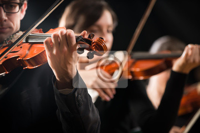 Naklejka Skrzypce orkiestra na scenie