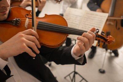 Naklejka Skrzypek wykonując z orkiestrą
