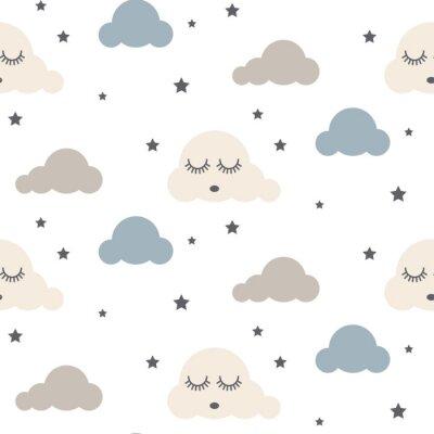 Naklejka Sleepy chmury bez szwu dziecko wektor wzorca. Szary, biały i niebieski. Śliczne dziecko w stylu cartoon tkanina skandynawskich dekoracyjnego.