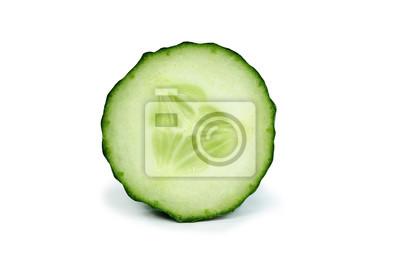 Naklejka Sliced open green cucumber vegetable isolated on white background