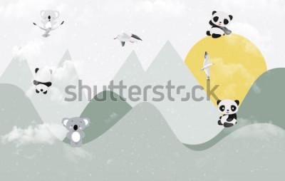 Naklejka Śliczne koale i pandy bawiące się w górach