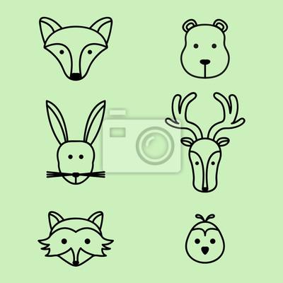 Naklejka Śliczne leśnych zwierząt ikony