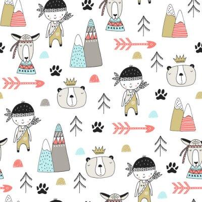 Naklejka Śliczne wyciągnąć rękę przedszkole bezszwowe wzór z dzikimi zwierzętami w stylu skandynawskim. Ilustracji wektorowych