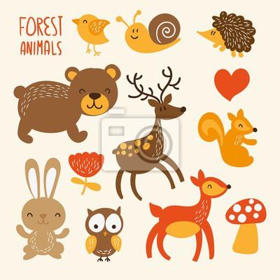 Naklejka Śliczne zwierzęta leśne
