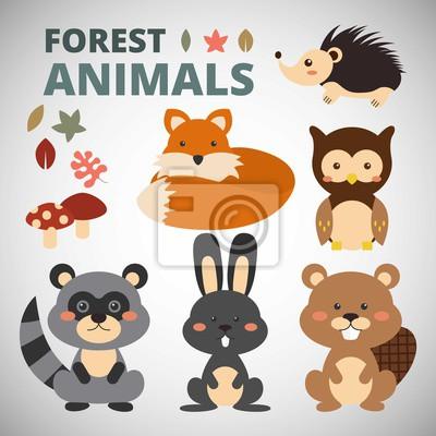 Naklejka Śliczne zwierzęta leśne kolekcji