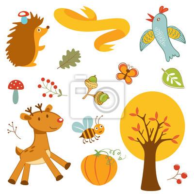 Naklejka Śliczne zwierzęta leśne kolorowa kolekcja
