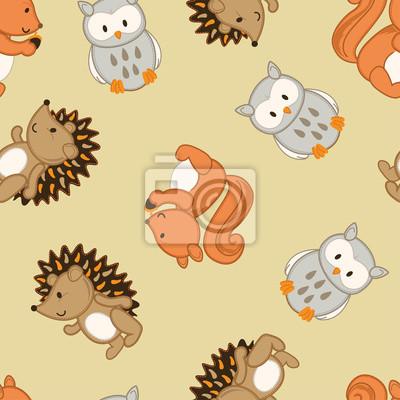 Naklejka Śliczne zwierzęta leśne w szwu wzór