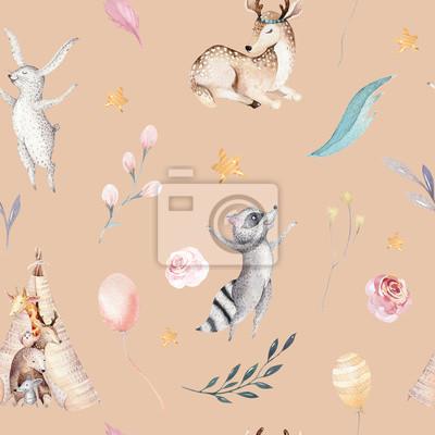 Naklejka Śliczni rodzinni dziecko raccon, rogacz i królik. żyrafa zwierząt przedszkole i opatrzone ilustracja na białym tle. Tło dla dzieci, druk przedszkola