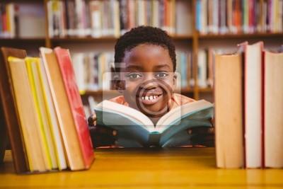 Naklejka Śliczny chłopiec czytanie książki w bibliotece