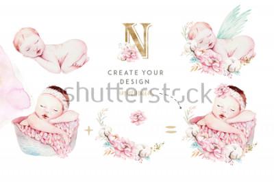 Naklejka Śliczny nowonarodzony akwareli dziecko. Nowo narodzone dziecko ilustracja dziewczyna, malarstwo chłopca. Baby shower na białym tle urodziny karty malowania. Ręcznie malowany.