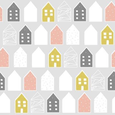 Naklejka Śliczny północny wzór z domami, wektorowa ilustracja