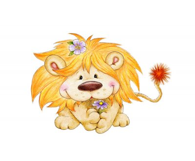 Naklejka Słodkie lew