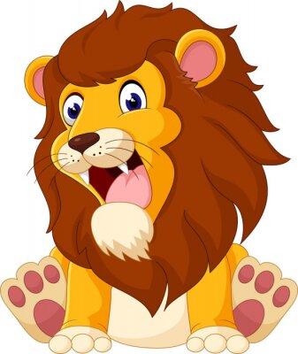 Naklejka Słodkie lew cartoon ilustracji