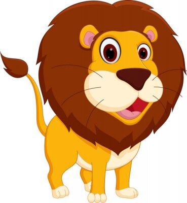 Naklejka Słodkie lew stojący kreskówki