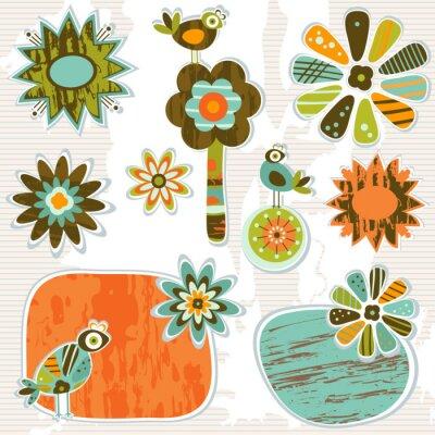 Naklejka Słodkie retro dekoracyjne ramki i kwiaty