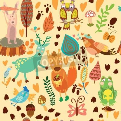 Naklejka Słodkie szwu z animals.Owl lasu, squirre l, jelenie, słowik, żaby, królika.