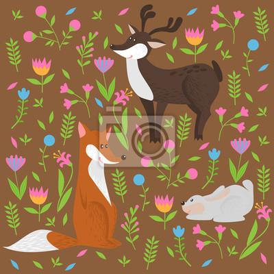 Naklejka słodkie zwierzęta leśne i kwiaty