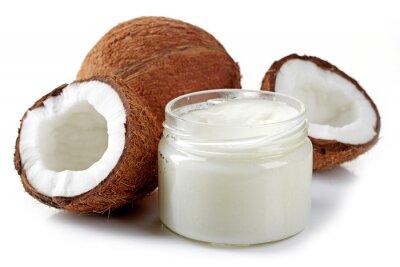 Naklejka słoik oleju kokosowego i świeżych kokosów