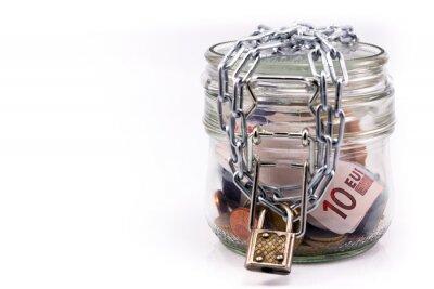 Naklejka słoik z pieniędzmi