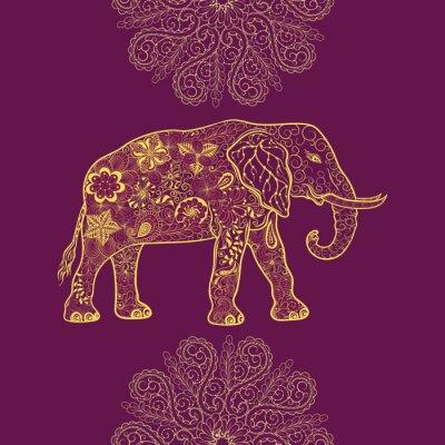 Naklejka Słoń doodle