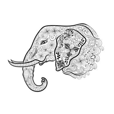 Naklejka Słoń doodle głowy