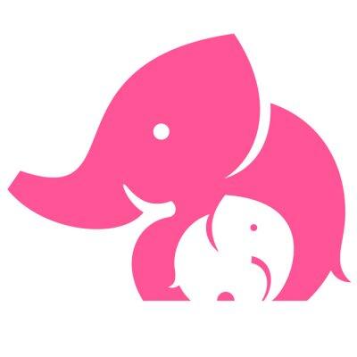 Naklejka Słoń mama i dziecko. Symbol lub logo