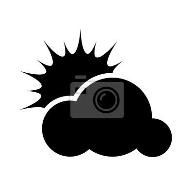 Naklejka Słońce, deszcz, wiatr, chmury, śnieg, księżyc, piorun, burza, pogoda płaskim