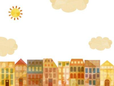 Naklejka Słoneczny miasto (białe tło)