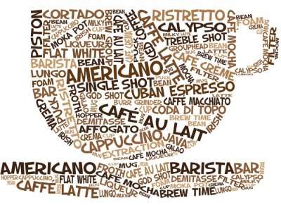 Naklejka Słowo Coffee Art Cup