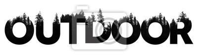 Naklejka Słowo na zewnątrz wykonane z napisem treetop na pustyni