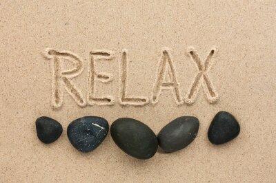 Naklejka Słowo relaks napisane na piasku