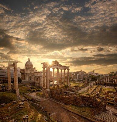 Naklejka Słynne rzymskie ruiny w Rzymie, stolicy Włoch