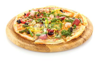Naklejka smaczne Pizza z oliwek samodzielnie na białym tle