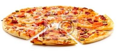 Naklejka Smaczne włoskiej pizzy na białym