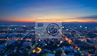 Naklejka smart city and communication network