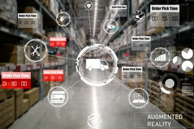Naklejka Smart warehouse management system using augmented reality technology to identify package picking and delivery . Future concept of supply chain and logistic business .