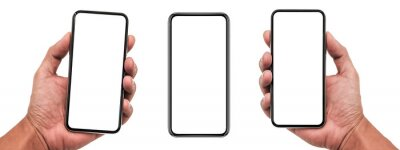 Naklejka Smartphone similar to iphone 12 with blank white screen for Infographic Global Business Marketing Plan, mockup model similar to iPhone isolated Background of digital investment economy - Clipping Path