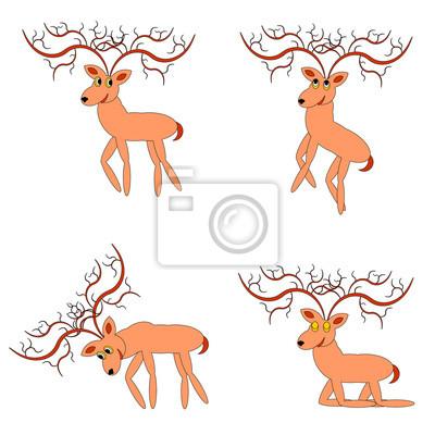 Naklejka Śmieszne jeleni na białym tle