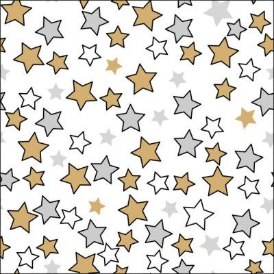 Naklejka Śmieszny boże narodzenie wzór z ślicznymi gwiazdami na bielu. Bezszwowy złocisty srebny czarny kolor Wektorowy projekta wystroju tło. Błyszczący kształt gwiazdy dekoracyjnej.