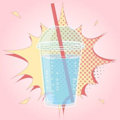 Naklejka Smoothie, Bubble Tea lub mleko projekt koktajl w stylu pop komiksu, ilustracji wektorowych