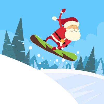 Naklejka Śnięty Mikołaj snowboarder przesuwne dół wzgórza
