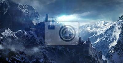 Naklejka Śnieżone góry między zamkiem.