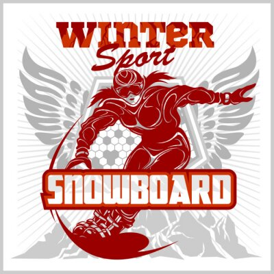 Naklejka Snowboarding godło, etykiety i zaprojektowane elementy.